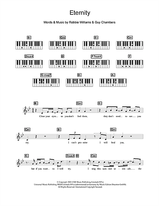 Robbie Williams, Eternity, Keyboard, sheet music, piano notes, chords, song, artist, awards, billboard, mtv, vh1, tour, single, album, release