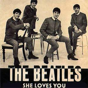 The Beatles, She Loves You, Piano, Vocal & Guitar (Right-Hand Melody), sheet music, piano notes, chords, song, artist, awards, billboard, mtv, vh1, tour, single, album, release