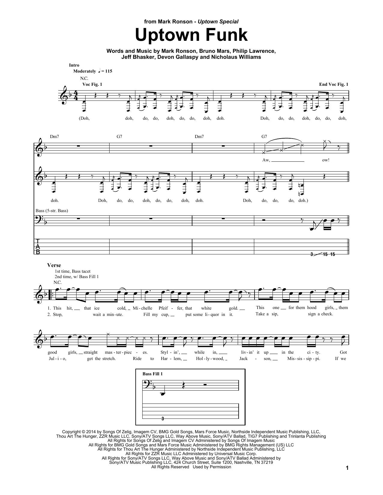 Mark Ronson ft. Bruno Mars, Uptown Funk, Bass Guitar Tab, sheet music, piano notes, chords, song, artist, awards, billboard, mtv, vh1, tour, single, album, release