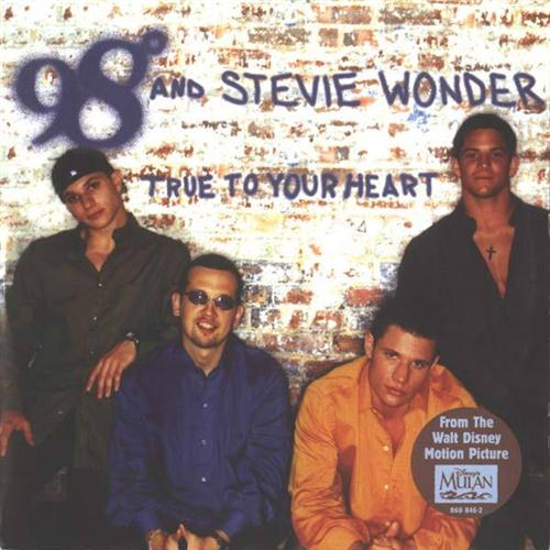 98 Degrees, True To Your Heart (Pop Version) (feat. Stevie Wonder), Piano, Vocal & Guitar (Right-Hand Melody), sheet music, piano notes, chords, song, artist, awards, billboard, mtv, vh1, tour, single, album, release