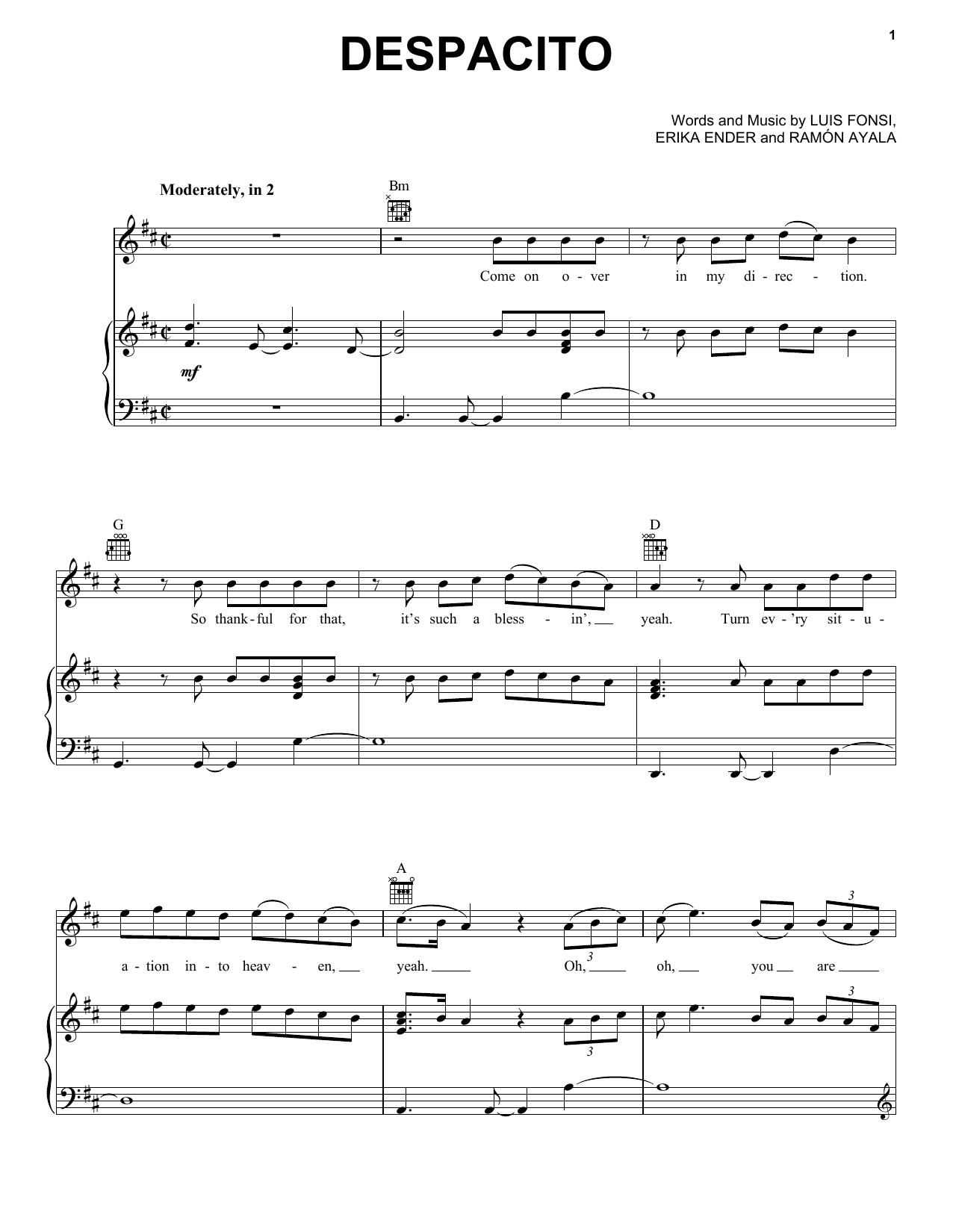Luis Fonsi & Daddy Yankee, Despacito (feat. Justin Bieber), Piano, Vocal & Guitar (Right-Hand Melody), sheet music, piano notes, chords, song, artist, awards, billboard, mtv, vh1, tour, single, album, release
