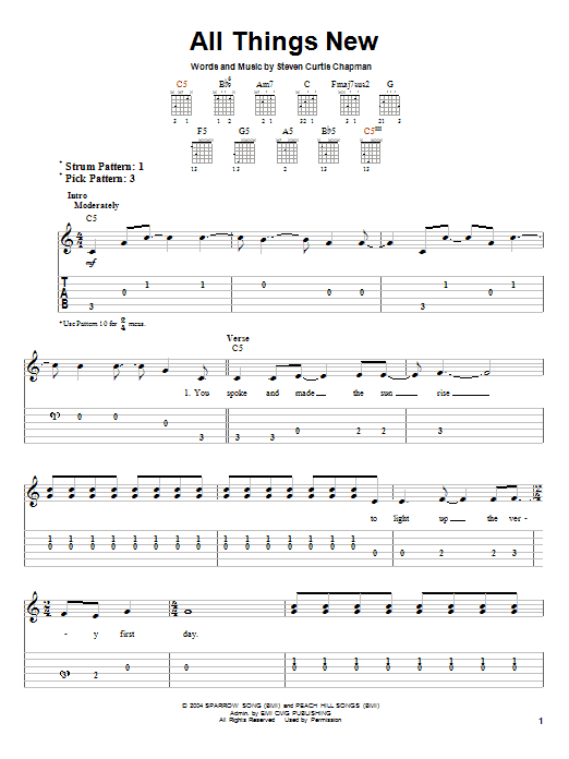 Steven Curtis Chapman, All Things New, Easy Guitar Tab, sheet music, piano notes, chords, song, artist, awards, billboard, mtv, vh1, tour, single, album, release
