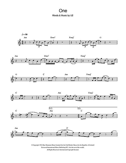 U2 One Sheet Music Notes Chords Download Printable Alto Saxophone Sku 101874