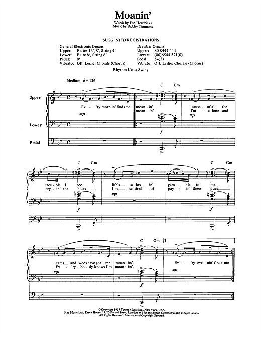 Bobby Timmons 'Moanin'' Sheet Music Notes, Chords   Download Printable  Organ - SKU: 102894