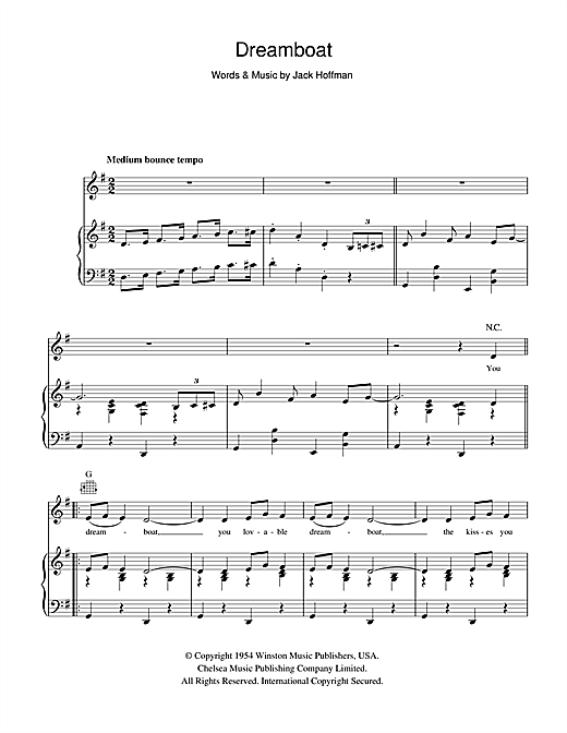 Alma Cogan 'Dreamboat' Sheet Music Notes, Chords | Download Printable  Piano, Vocal & Guitar (Right-Hand Melody) - SKU: 102911
