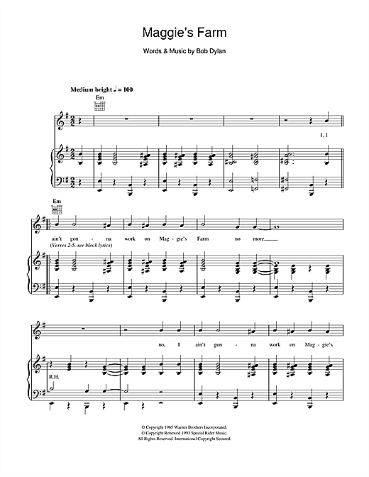 Bob Dylan Maggie S Farm Sheet Music Notes Chords Download Rock Notes Piano Vocal Guitar Right Hand Melody Pdf Print 103496