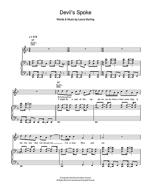 Laura Marling 'Devil's Spoke' Sheet Music Notes, Chords   Download  Printable Piano, Vocal & Guitar - SKU: 103603