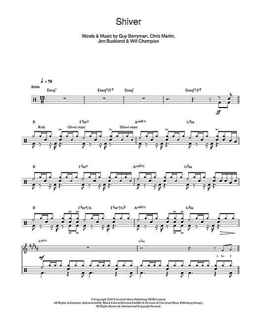 picture about Free Printable Drum Sheet Music named Coldplay Shiver Sheet Tunes Notes, Chords Down load Printable Drums - SKU: 104548