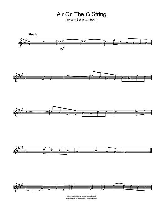 J S  Bach 'Air On The G String (from Suite No 3 in D Major)' Sheet Music  Notes, Chords | Download Printable Alto Saxophone - SKU: 105477
