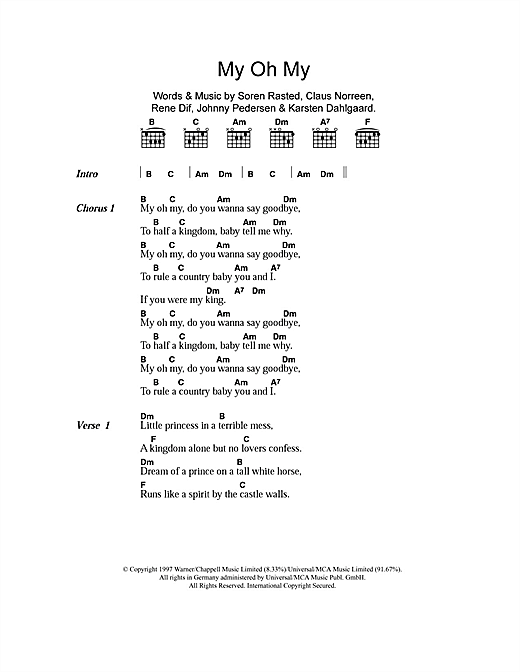 Aqua My Oh My Sheet Music Notes Chords Download Pop Notes