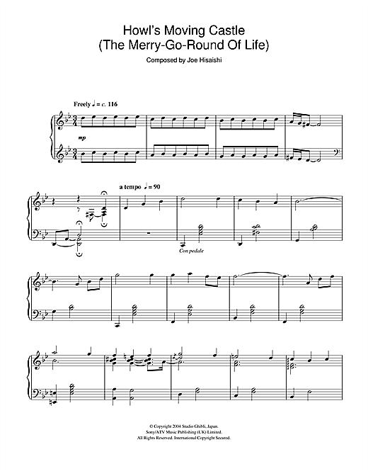 joe hisaishi howl's moving castle piano pdf