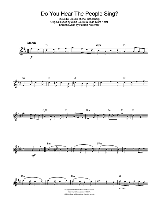 Boublil And Schonberg Do You Hear The People Sing From Les Miserables Sheet Music Notes Chords Download Musicals Notes Alto Saxophone Pdf Print 106847