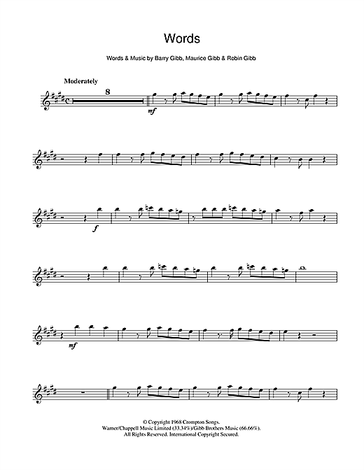 Bee Gees 'Words' Sheet Music Notes, Chords | Download Printable Alto  Saxophone - SKU: 108116