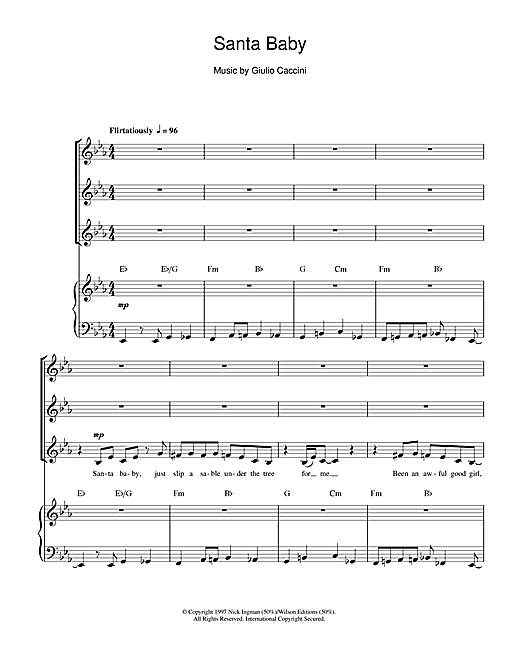 Eartha Kitt Santa Baby Sheet Music