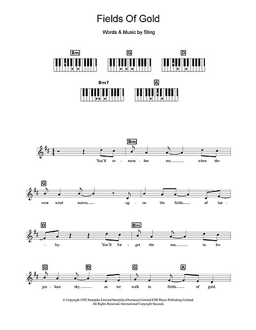 Sting Fields Of Gold Sheet Music Notes Chords Download Printable Keyboard Abridged Sku 109172