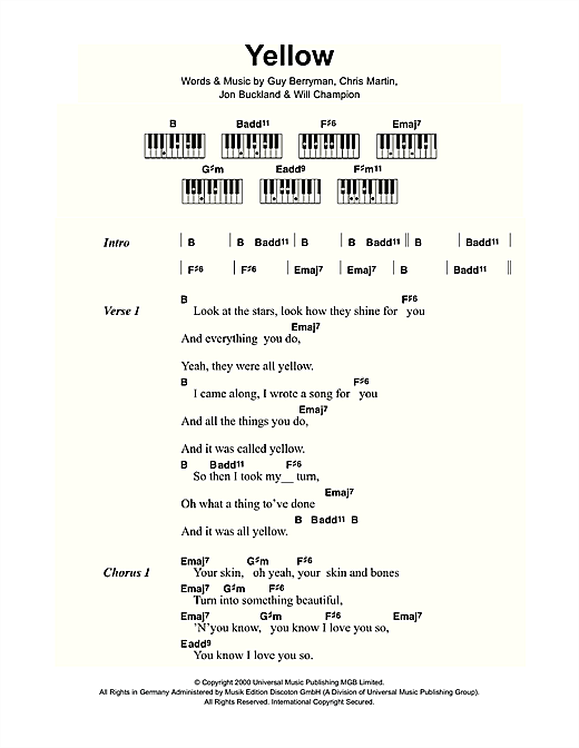 Coldplay 'Yellow' Sheet Music Notes, Chords | Download Printable Lyrics &  Piano Chords - SKU: 109437