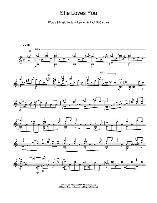 The Beatles She Loves You Sheet Music Notes Chords Download Pop Notes Guitar Pdf Print 110135