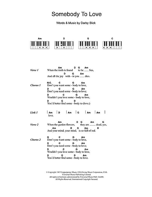 Jefferson Airplane 'Somebody To Love' Sheet Music Notes, Chords | Download  Printable Lyrics & Piano Chords - SKU: 110216
