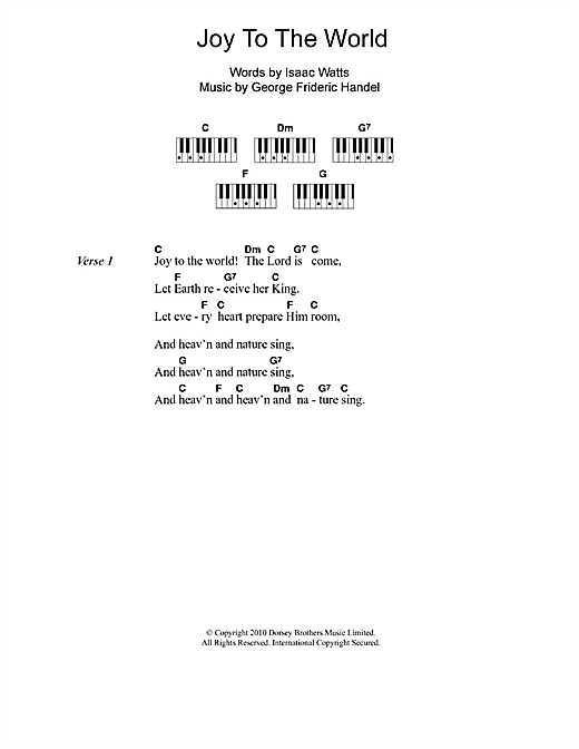 Christmas Carol Joy To The World Sheet Music Notes Chords Download Printable Lyrics Piano Chords Sku 110443