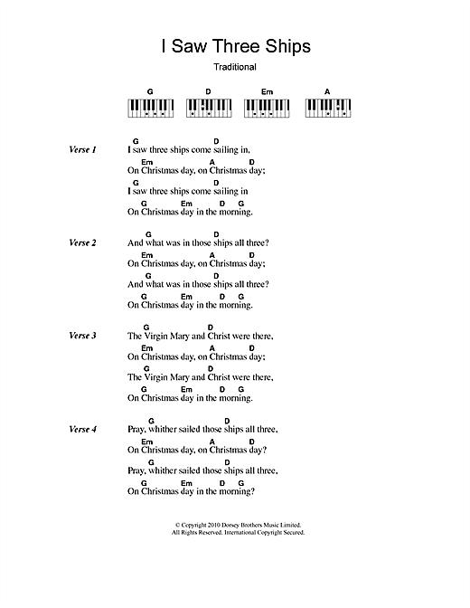 image relating to Christmas Carol Lyrics Printable known as Xmas Carol I Noticed 3 Ships Sheet Songs Notes, Chords Obtain Printable Lyrics Piano Chords - SKU: 110453