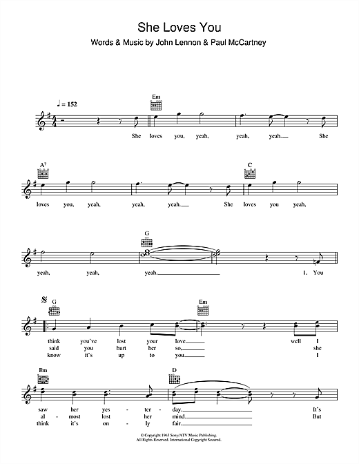 The Beatles She Loves You Sheet Music Notes Chords Download Rock Notes Melody Line Lyrics Chords Pdf Print 110757