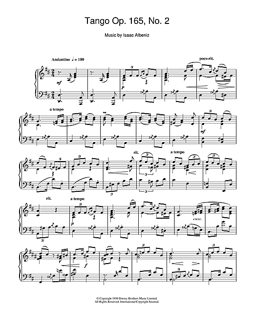 Isaac Albeniz, Tango Op. 165, No. 2, Piano, sheet music, piano notes, chords, song, artist, awards, billboard, mtv, vh1, tour, single, album, release