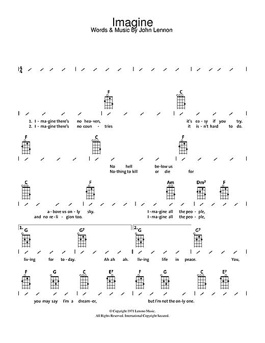 John Lennon Imagine Sheet Music Notes Chords Download Pop Notes Ukulele With Strumming Patterns Pdf Print 112752