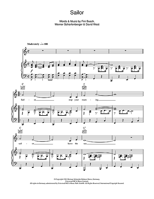 Anne Shelton 'Sailor' Sheet Music Notes, Chords | Download Printable Piano,  Vocal & Guitar (Right-Hand Melody) - SKU: 115099