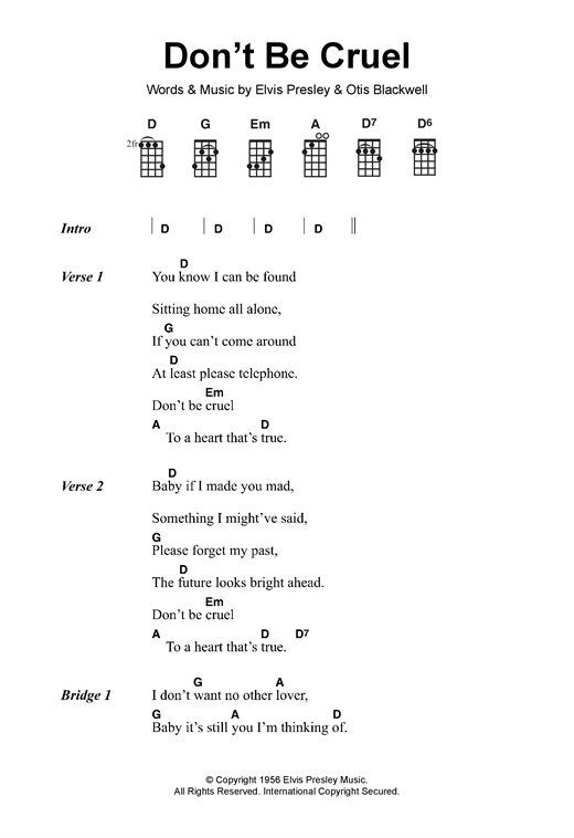 Elvis Presley Don T Be Cruel Sheet Music Notes Chords Download
