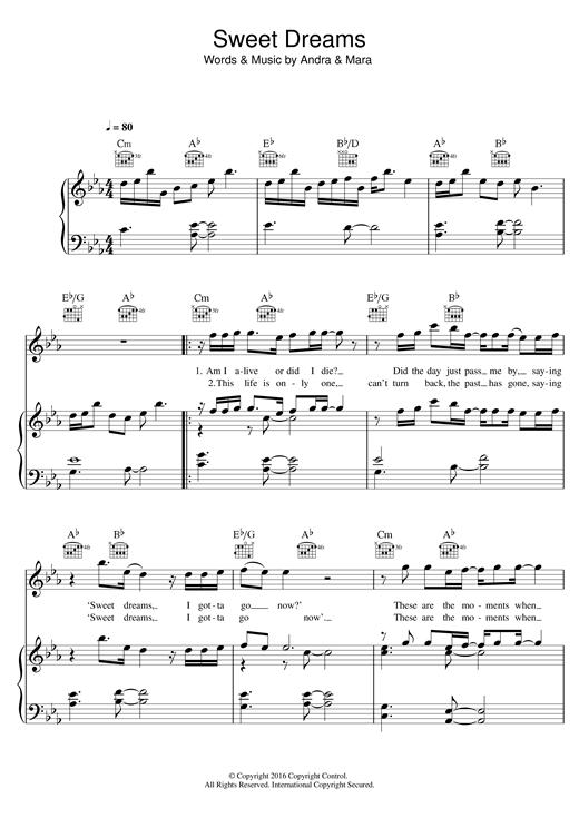 Andra & Mara 'Sweet Dreams' Sheet Music Notes, Chords | Download Printable  Piano, Vocal & Guitar (Right-Hand Melody) - SKU: 123637