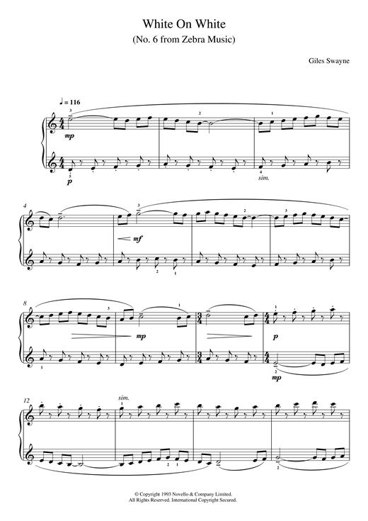 White On White (No. 6 from Zebra Music) sheet music