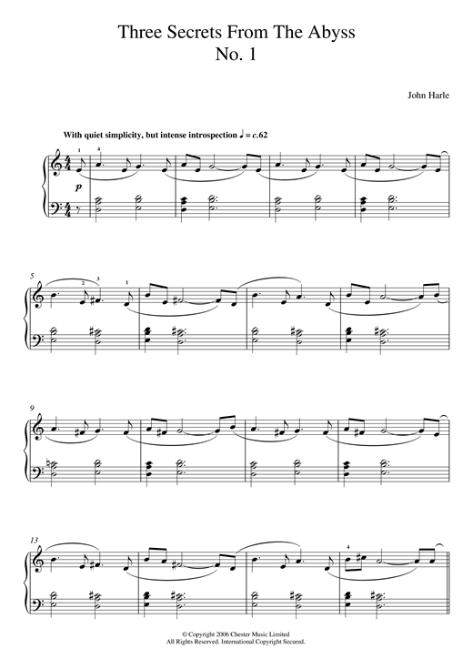 Three Secrets From The Abyss - No. 1 sheet music