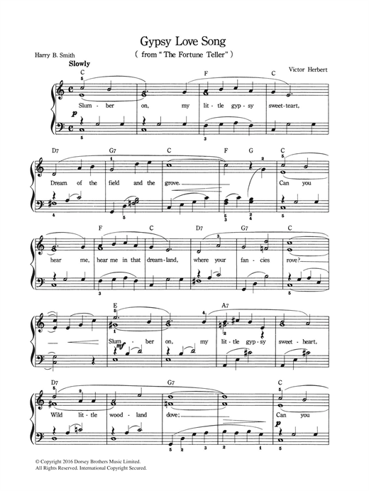 Gypsy Love Song sheet music