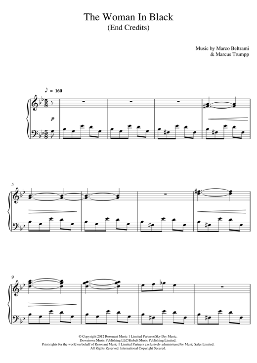 The Woman In Black (End Credits) sheet music
