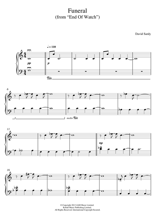 Funeral (From End Of Watch) sheet music