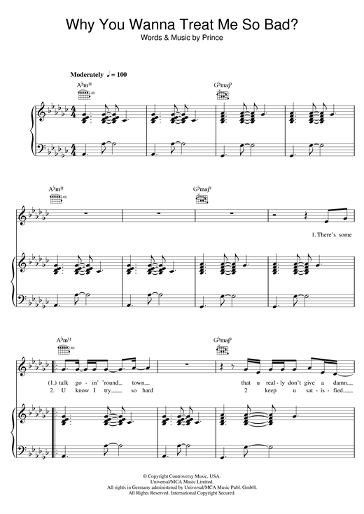 Why You Wanna Treat Me So Bad? sheet music