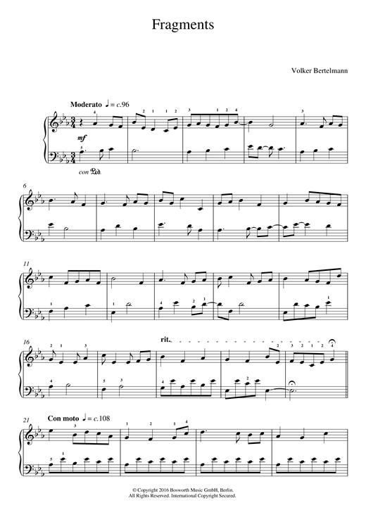 Fragments sheet music