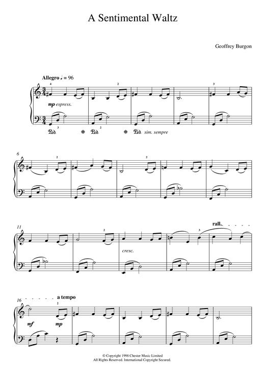 Sentimental Waltz (From 'Nine Easy Pieces For Piano') sheet music
