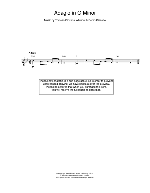 Tomaso Albinoni, Adagio in G Minor, Melody Line & Chords, sheet music, piano notes, chords, song, artist, awards, billboard, mtv, vh1, tour, single, album, release