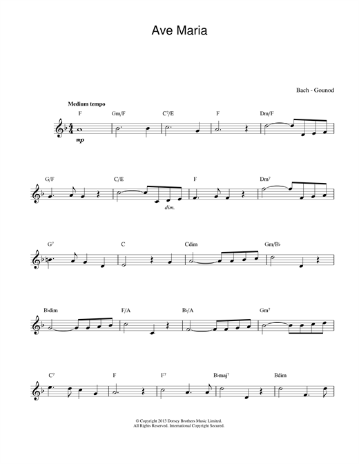 J.S. Bach and Charles Gounod, Ave Maria, Melody Line & Chords, sheet music, piano notes, chords, song, artist, awards, billboard, mtv, vh1, tour, single, album, release