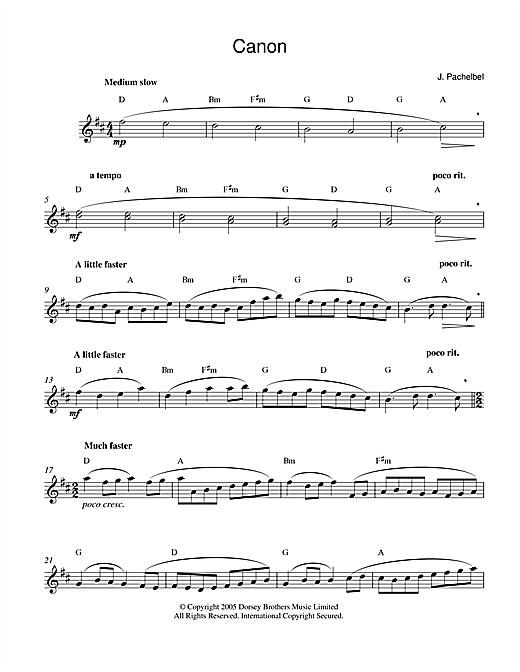 Johann Pachelbel, Pachelbel's Canon In D Major, Melody Line & Chords, sheet music, piano notes, chords, song, artist, awards, billboard, mtv, vh1, tour, single, album, release