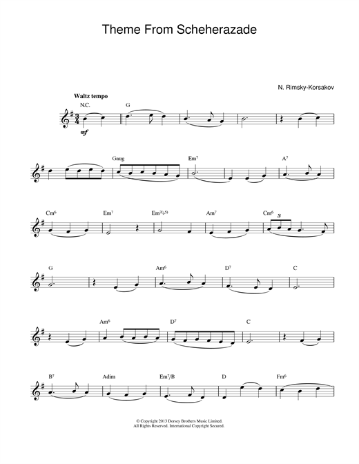 Scheherezade Theme sheet music