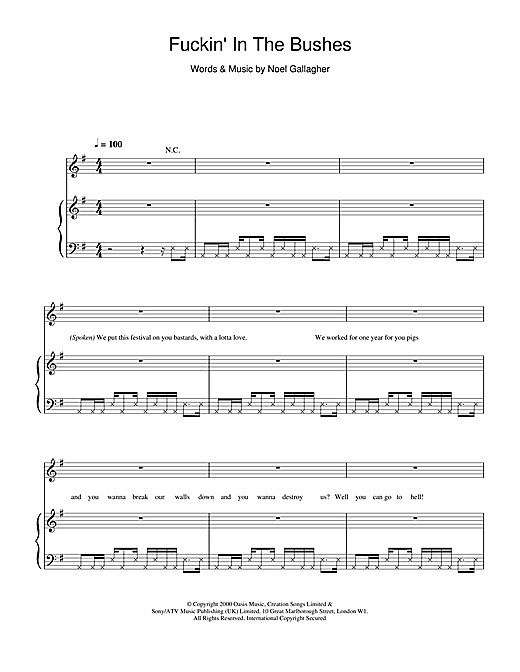 F***in' In The Bushes sheet music