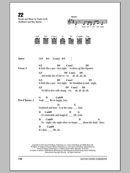 Taylor Swift 22 Sheet Music Notes Chords Download Pop Notes Lyrics Chords Pdf Print 150318