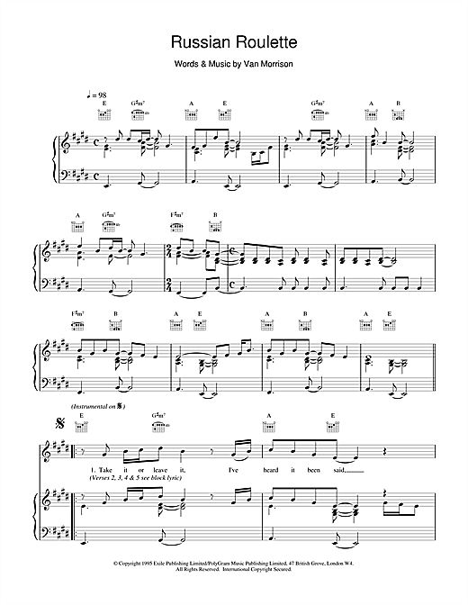 Russian Roulette sheet music