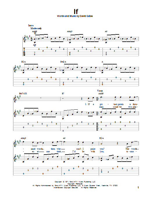 Bread If Sheet Music Notes Chords Download Printable Guitar Tab Sku 152823