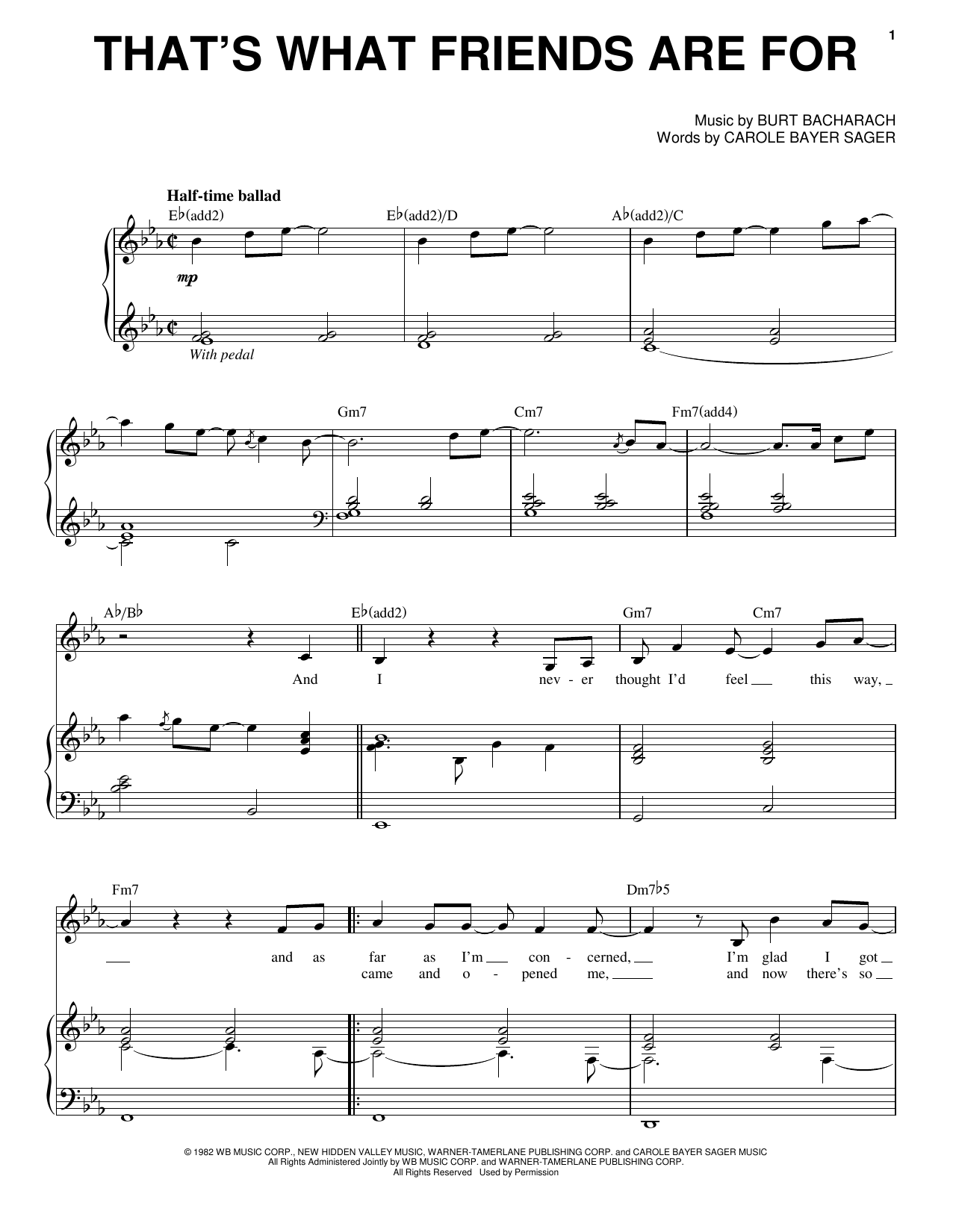 Dionne Friends That S What Friends Are For Sheet Music Notes Chords Download Rock Notes Piano Vocal Pdf Print 155812