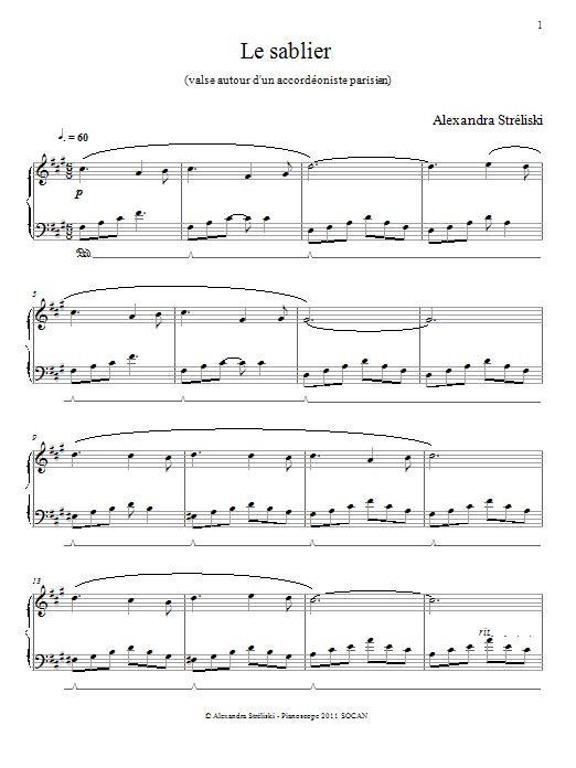 Alexandra Streliski 'Le sablier' Sheet Music Notes, Chords | Download  Printable Piano - SKU: 156653