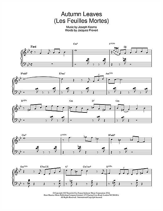 Bill Evans 'Autumn Leaves (Les Feuilles Mortes)' Sheet Music Notes, Chords  | Download Printable Piano - SKU: 15891