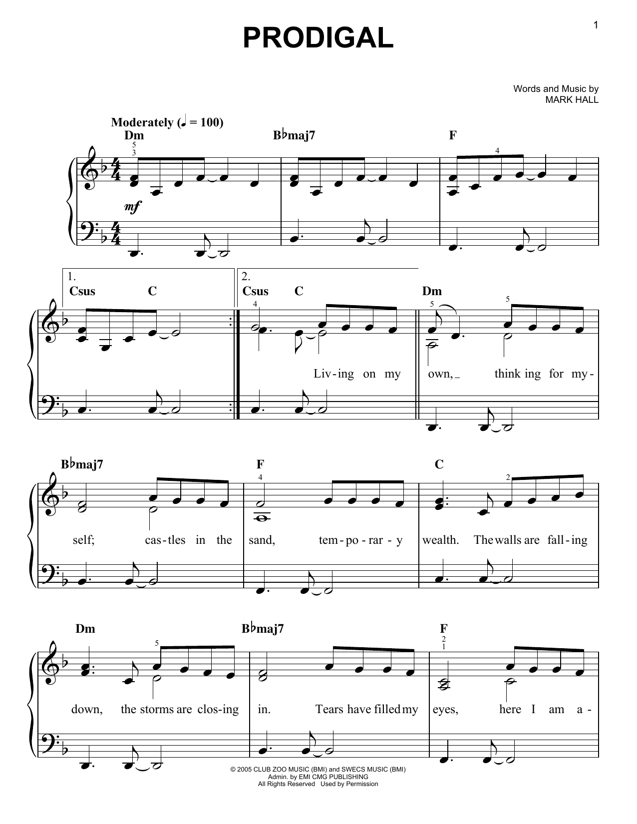 Casting Crowns, Prodigal, Easy Piano, sheet music, piano notes, chords, song, artist, awards, billboard, mtv, vh1, tour, single, album, release
